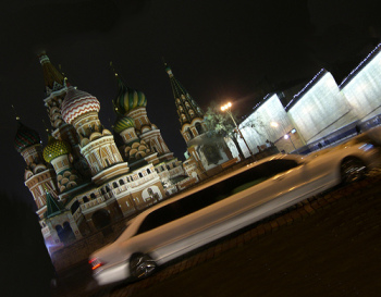 The happy life of a lottery winner: a limo in Red Square.