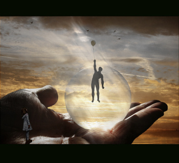 a dream image: a person in a bubble floating away, pulled by a balloon