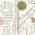 hand-lettered art journal page with quotes about hope