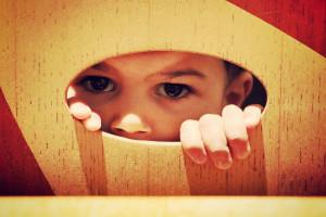 peeking through a hole